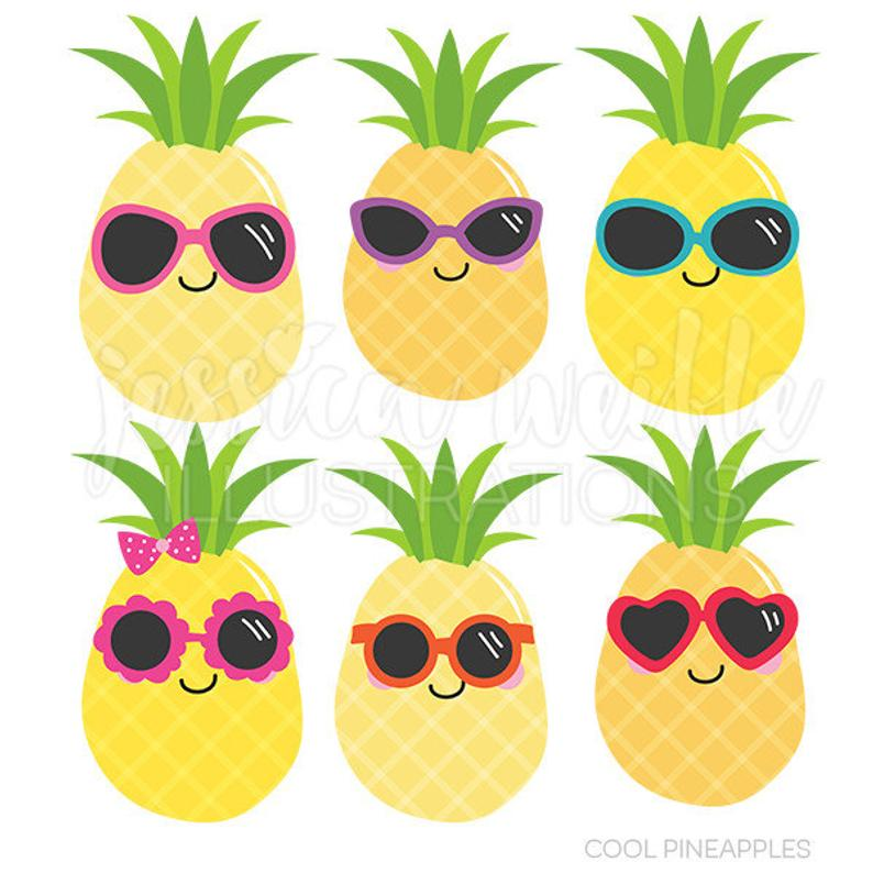 Cool pineapples cute digital. Pineapple clipart sunglasses