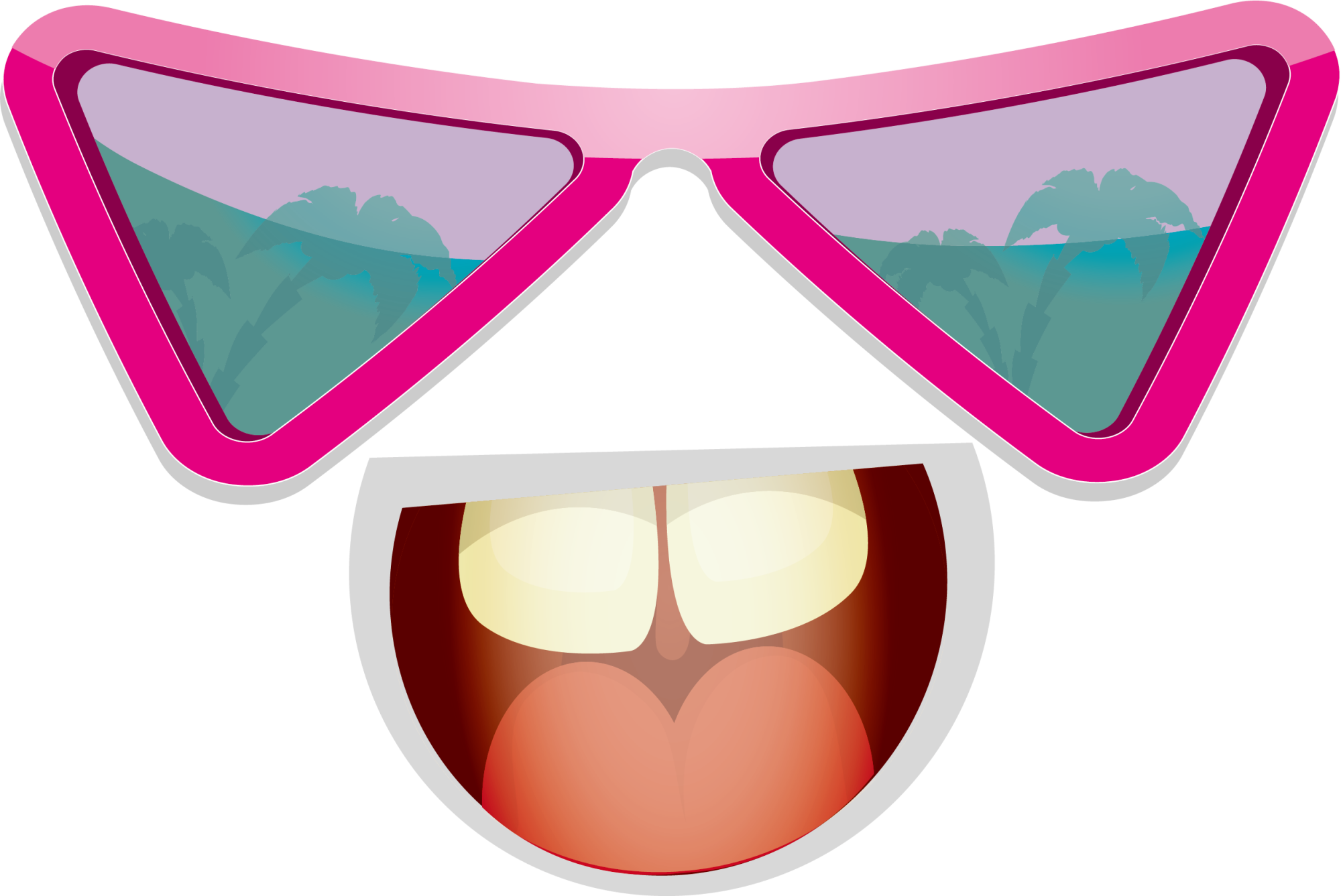 Cartoon drawing illustration faces. Sunglasses clipart pink heart