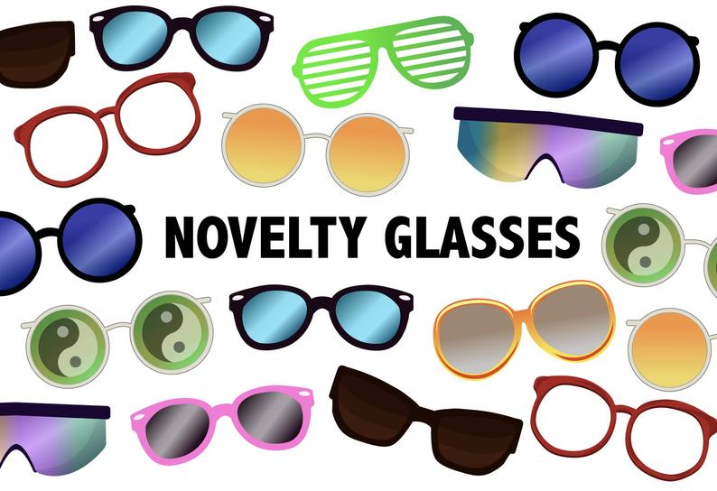 Novelty glasses icons . Clipart sunglasses printable