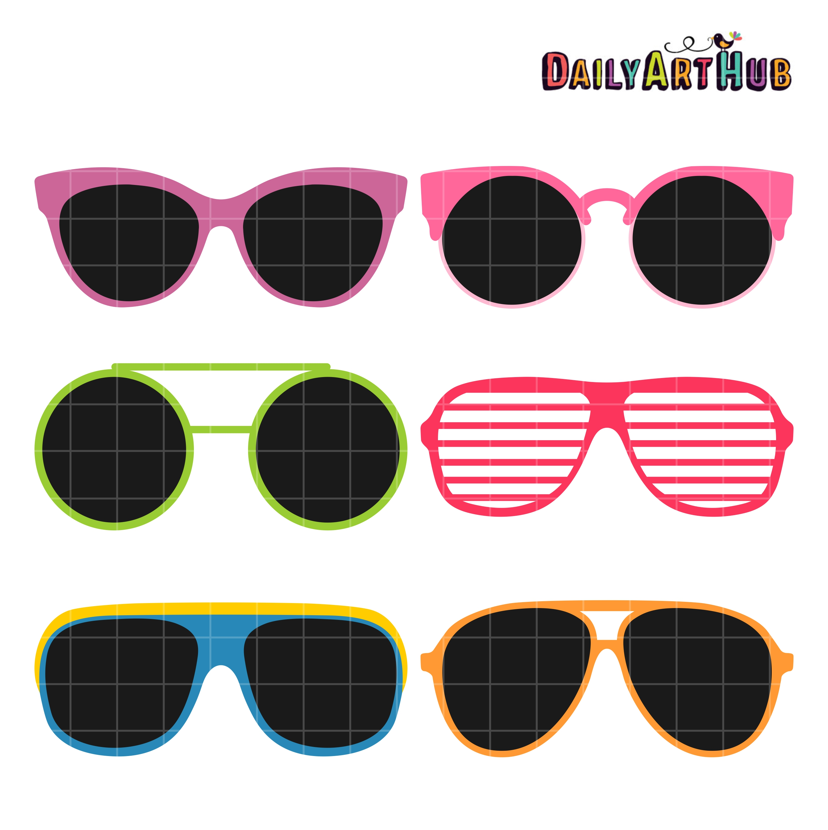Clip art set . Clipart sunglasses retro sunglasses
