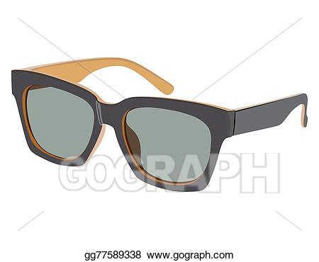 Vector stock glasses illustration. Clipart sunglasses side view