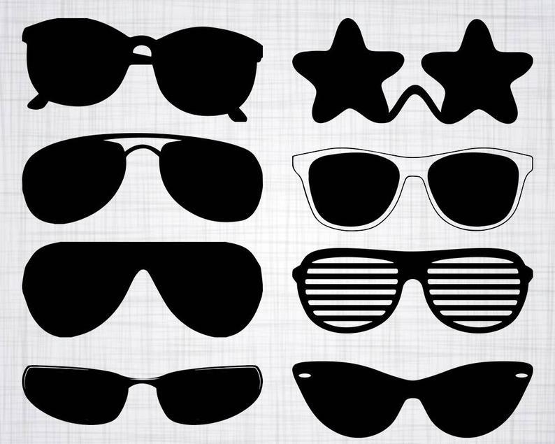Svg bundle cut files. Clipart sunglasses silhouette