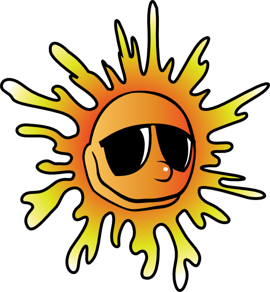 Sun with sunglasses clip. Heat clipart royalty free