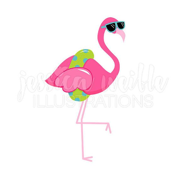 Flamingo cute digital clip. Sunglasses clipart tropical