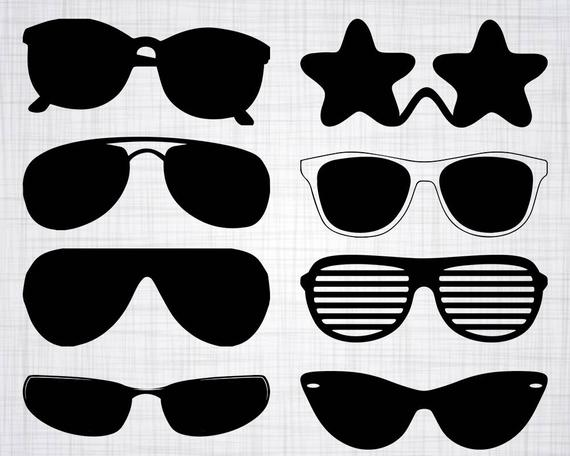 Svg bundle cut files. Sunglasses clipart silhouette