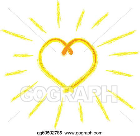Eps vector stock illustration. Clipart sunshine heart sunshine