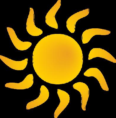 Sun bent rays symbols. Clipart sunshine symbol