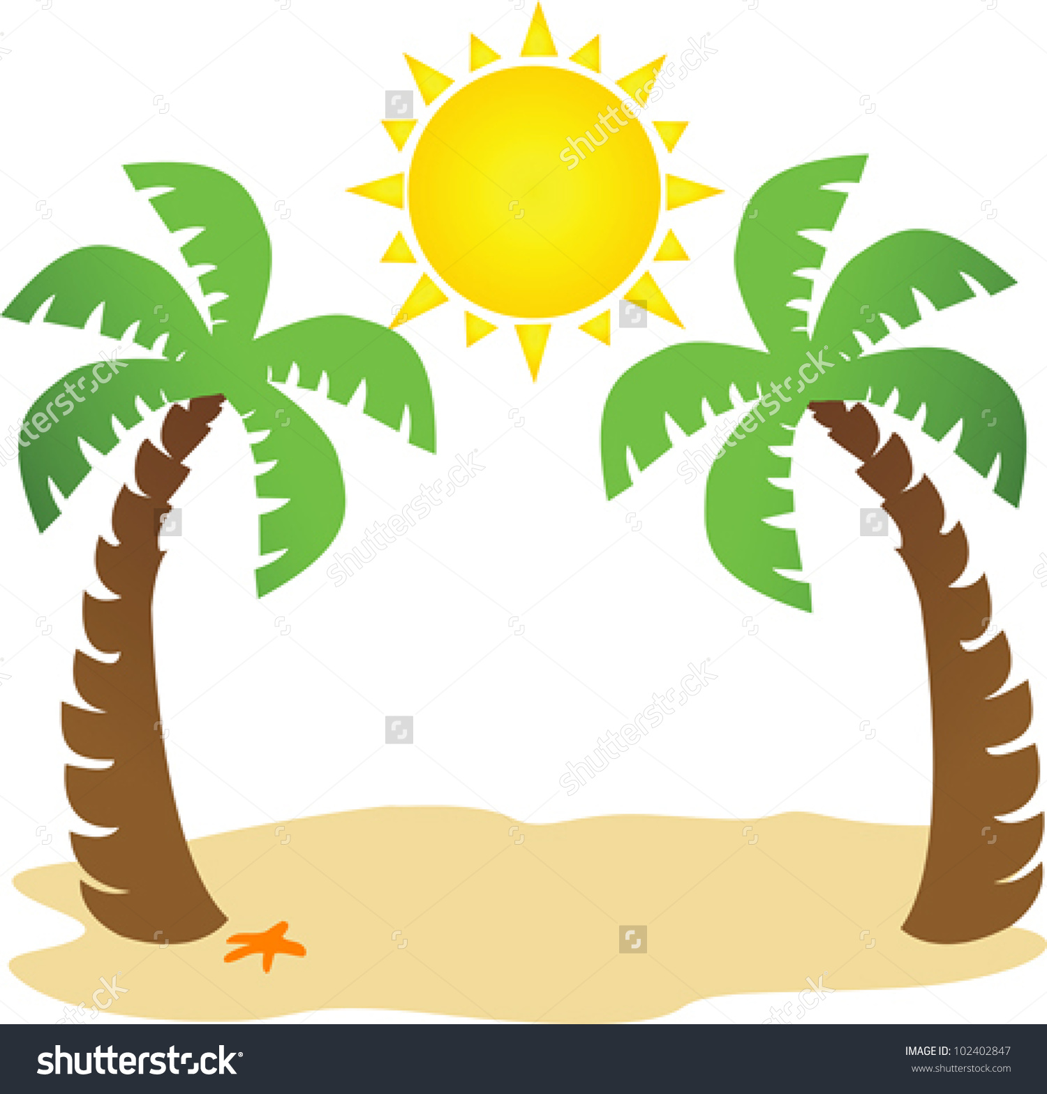 Palm and sun collection. Clipart sunshine tree clipart