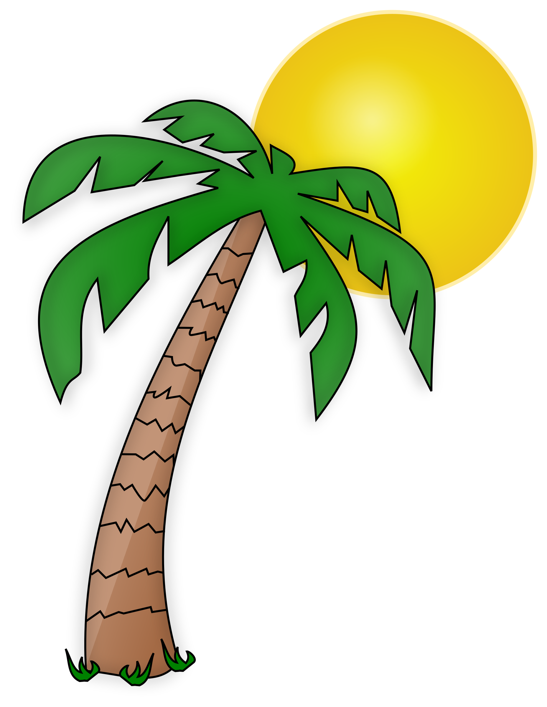 Clipart sunshine tree clipart. Palmier et soleil palm