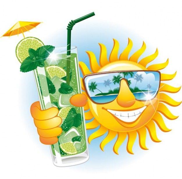 Funny sun island cartoon. Clipart sunshine tropical