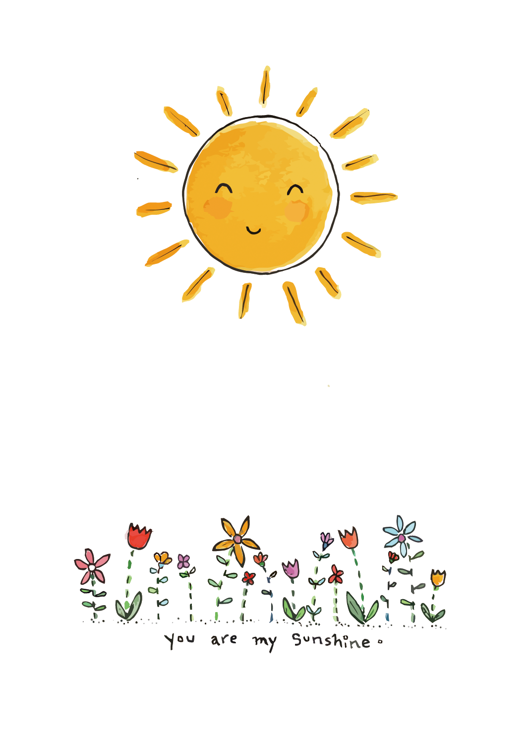 Clipart sunshine watercolor. Drawing art painting illustration