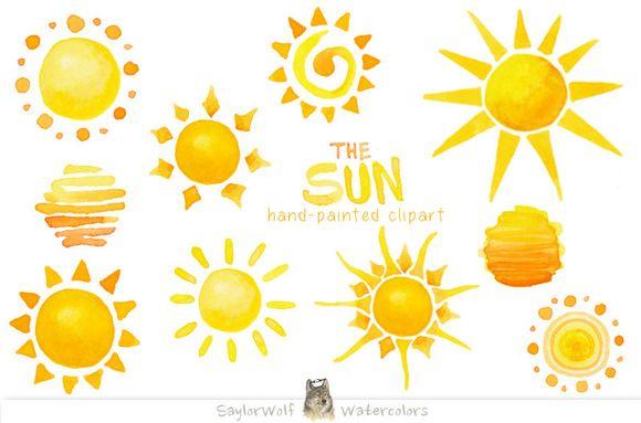 Sun clip art by. Clipart sunshine watercolor