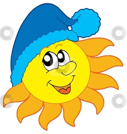 Sun in cap stock. Clipart sunshine winter
