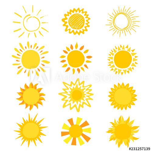 Clipart sunshine yellow sunburst. Sun vector sunny icon