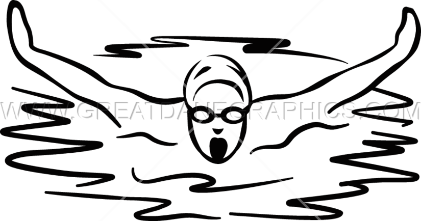 Clipart swimming black and white. Male swimmer production ready