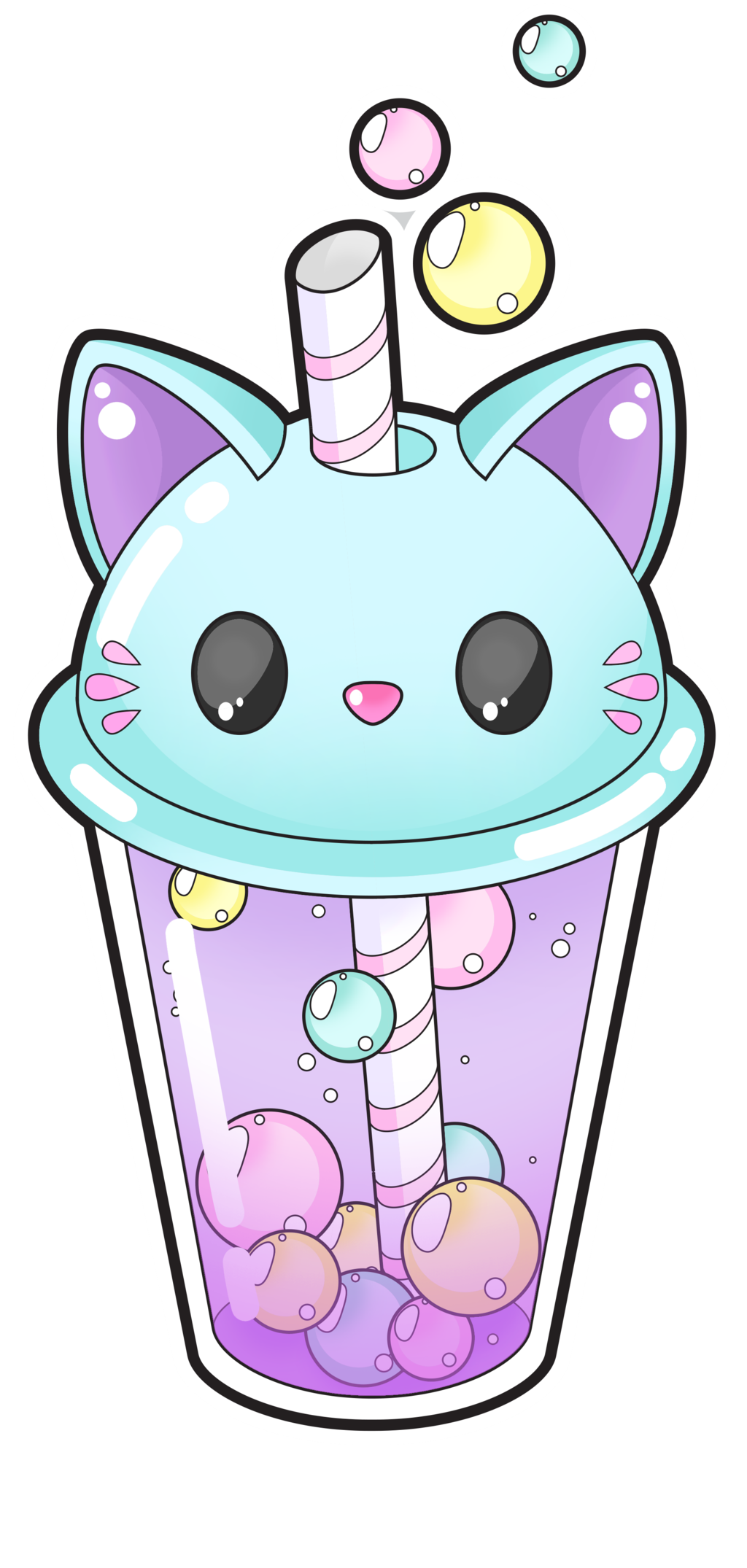 Narwhal clipart oblyvian. Cute cat bubble tea
