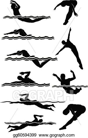 Eps vector male silhouettes. Clipart swimming diving