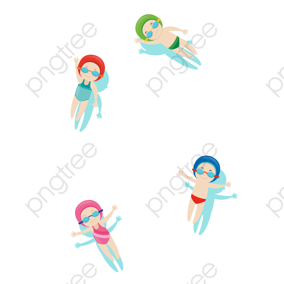 Cartoon children in the. Clipart swimming material
