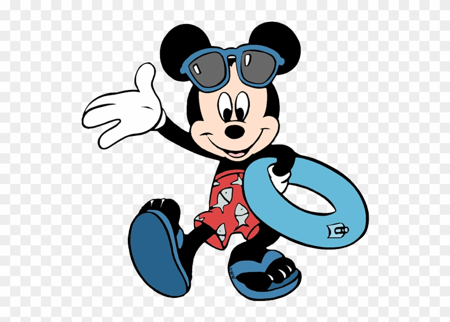 Disney clipart swimming. Mickey carrying pool inner