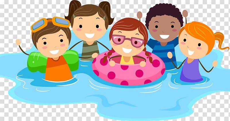 Clipart swimming preschool. Five children on water