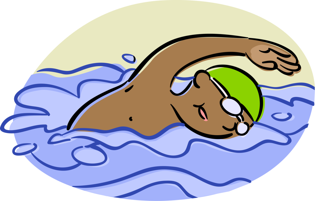Competitive swimmer swims backstroke. Clipart swimming swimming competition
