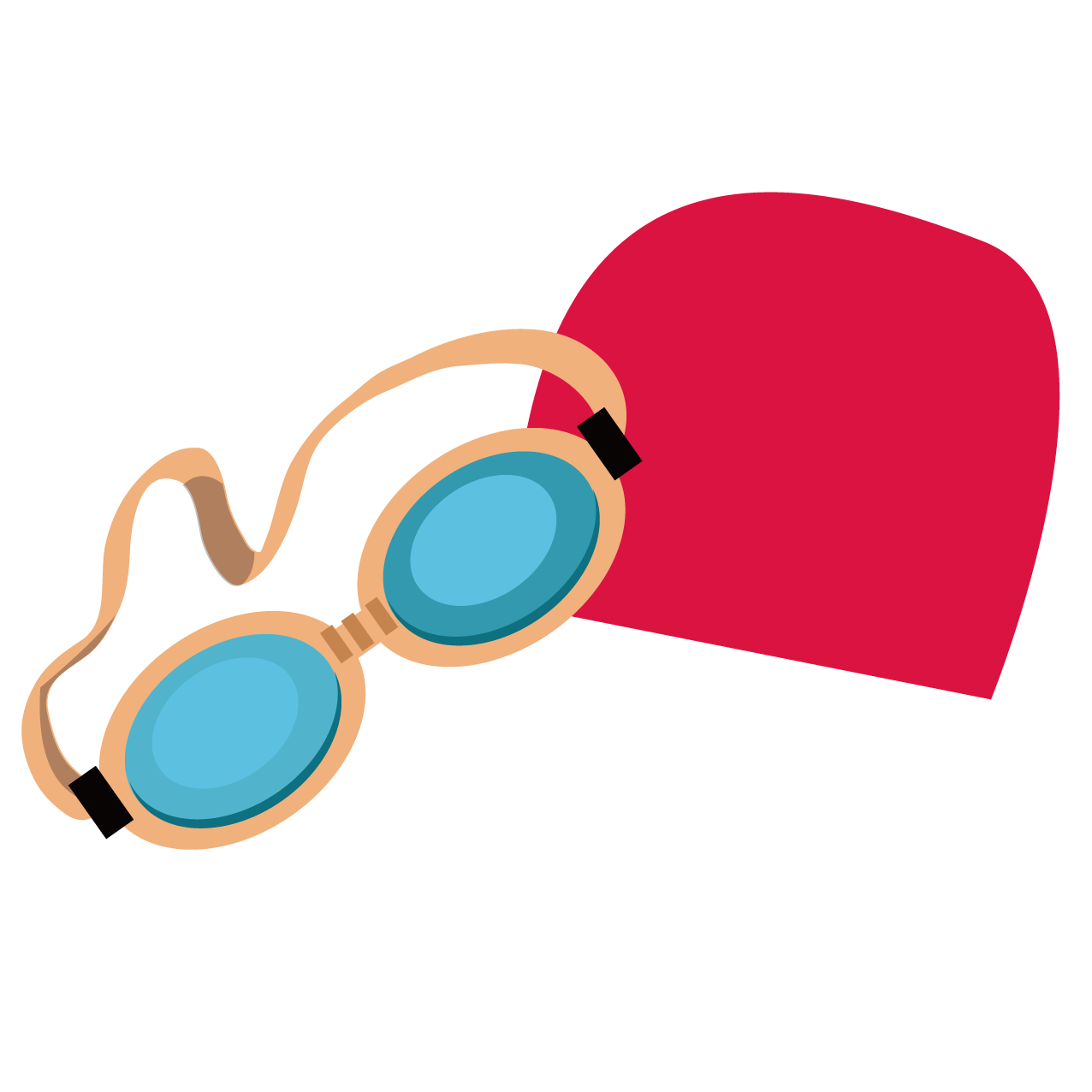 Goggles glasses swim cap. Clipart swimming vector