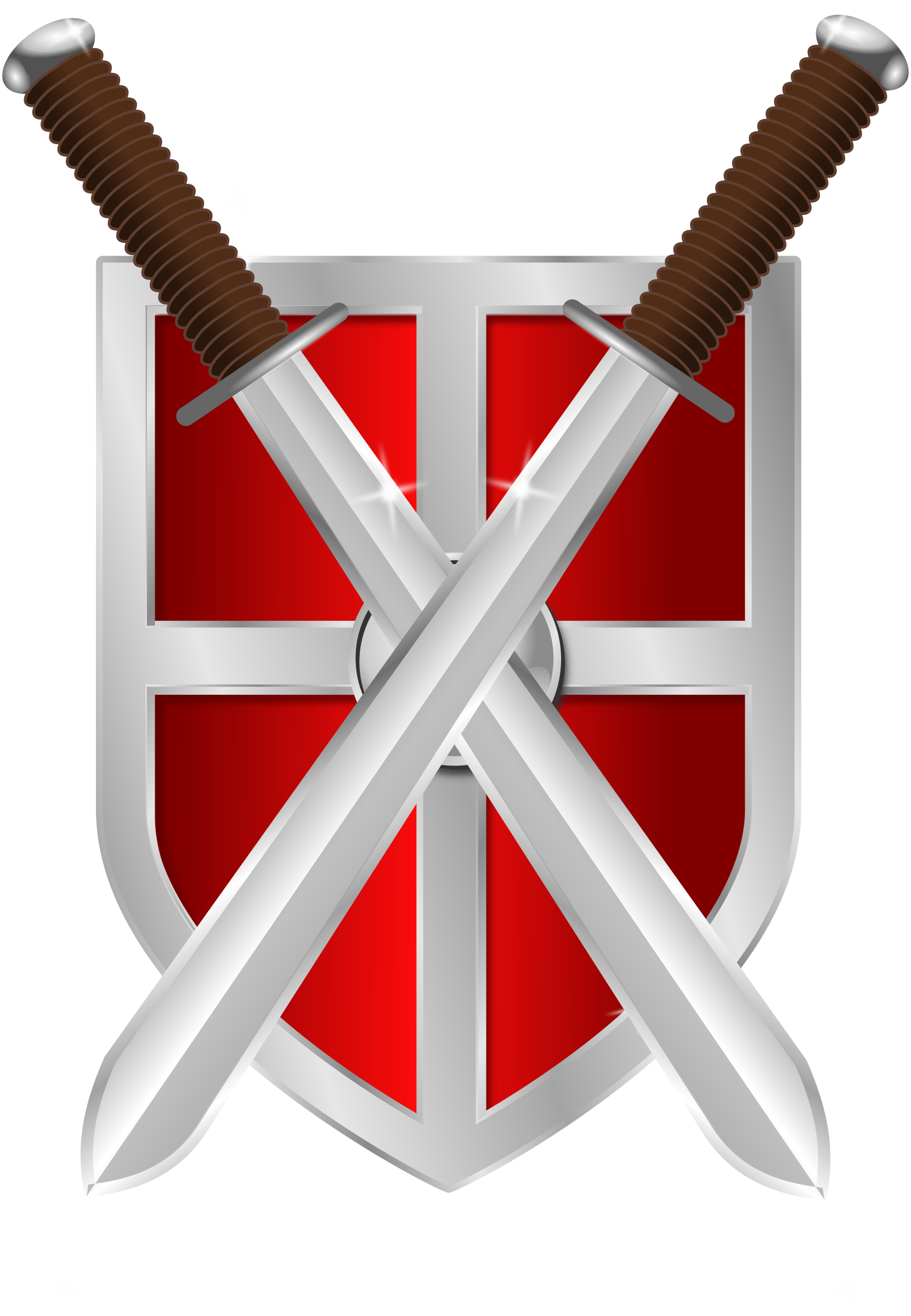 Swords and shield icons. Fighting clipart sword
