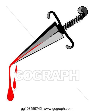 Vector stock murder weapon. Clipart sword horizontal