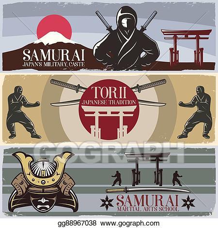 Clipart sword horizontal. Eps illustration samurai banners