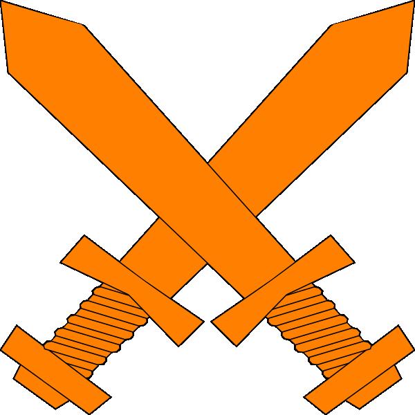 Clipart sword logo. Orange crossed swords clip