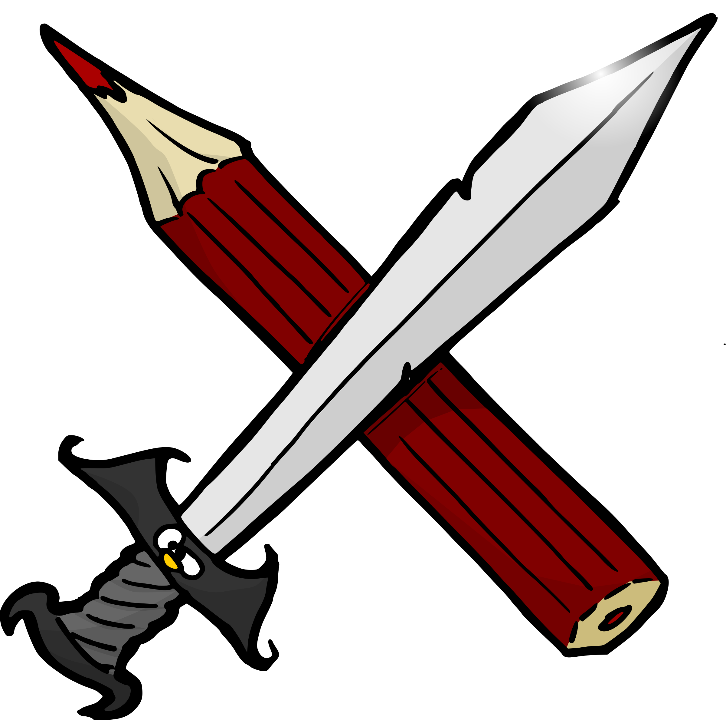 Sword and big image. Writer clipart pencil