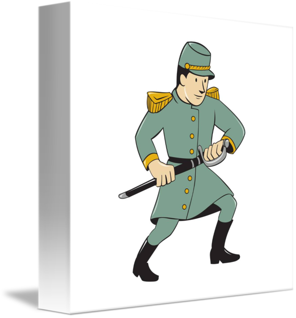 Confederate soldier drawing sword. Military clipart army man