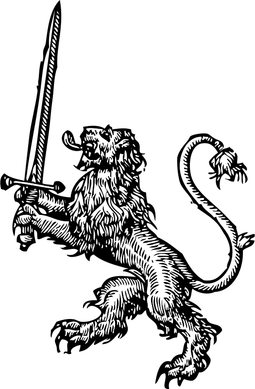 Coloring clipart lion. Free with sword psd