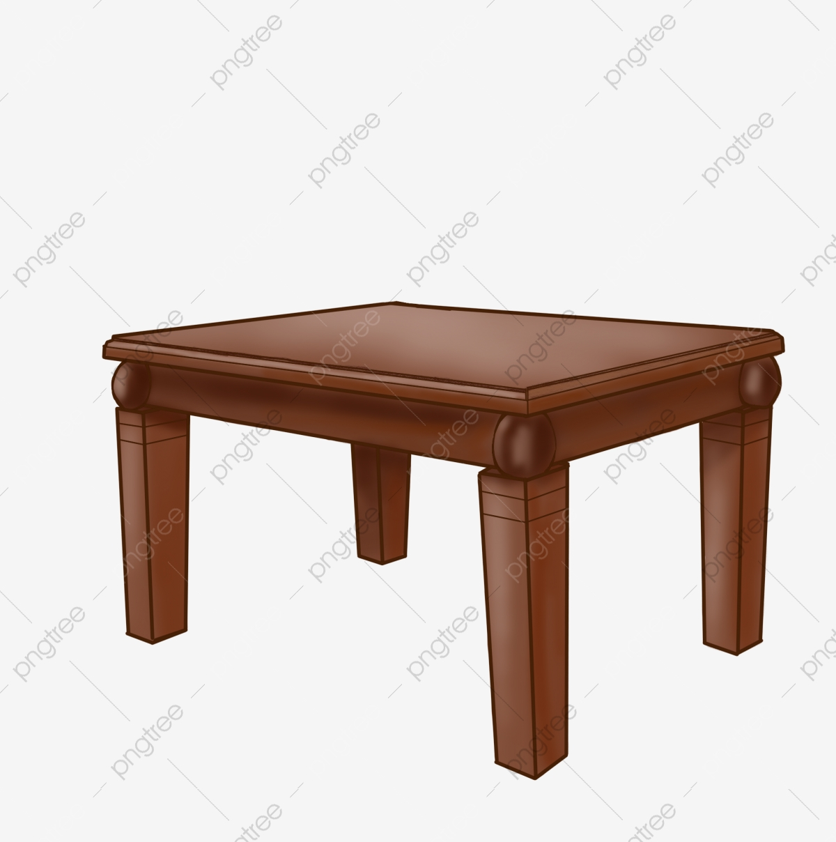 Dining flat cartoon illustration. Clipart table brown table