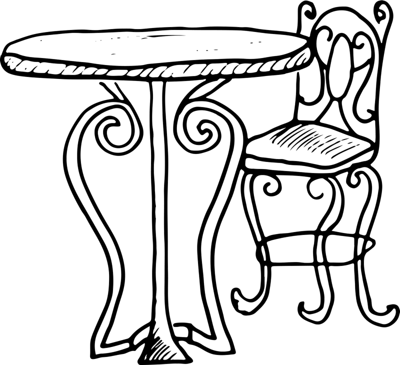 Bistro and chair stamp. Clipart table cafe table