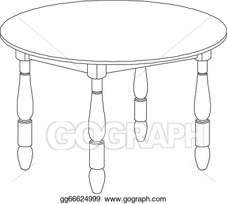 Clipart table drawing. Vector art round eps