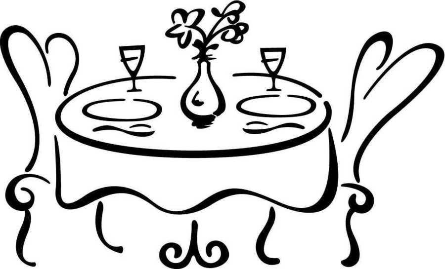 Clipart table fancy table. Restaurant dinner food kitchen