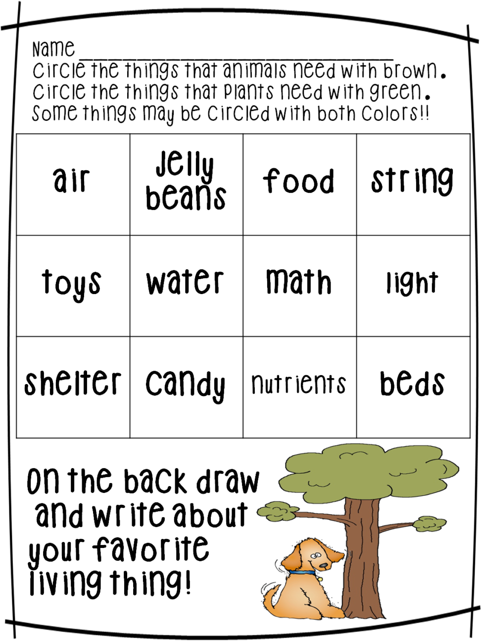 And nonliving things worksheet. Clipart table non living thing