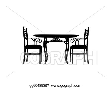 Clipart table table outline. Stock illustration chairs silhouette