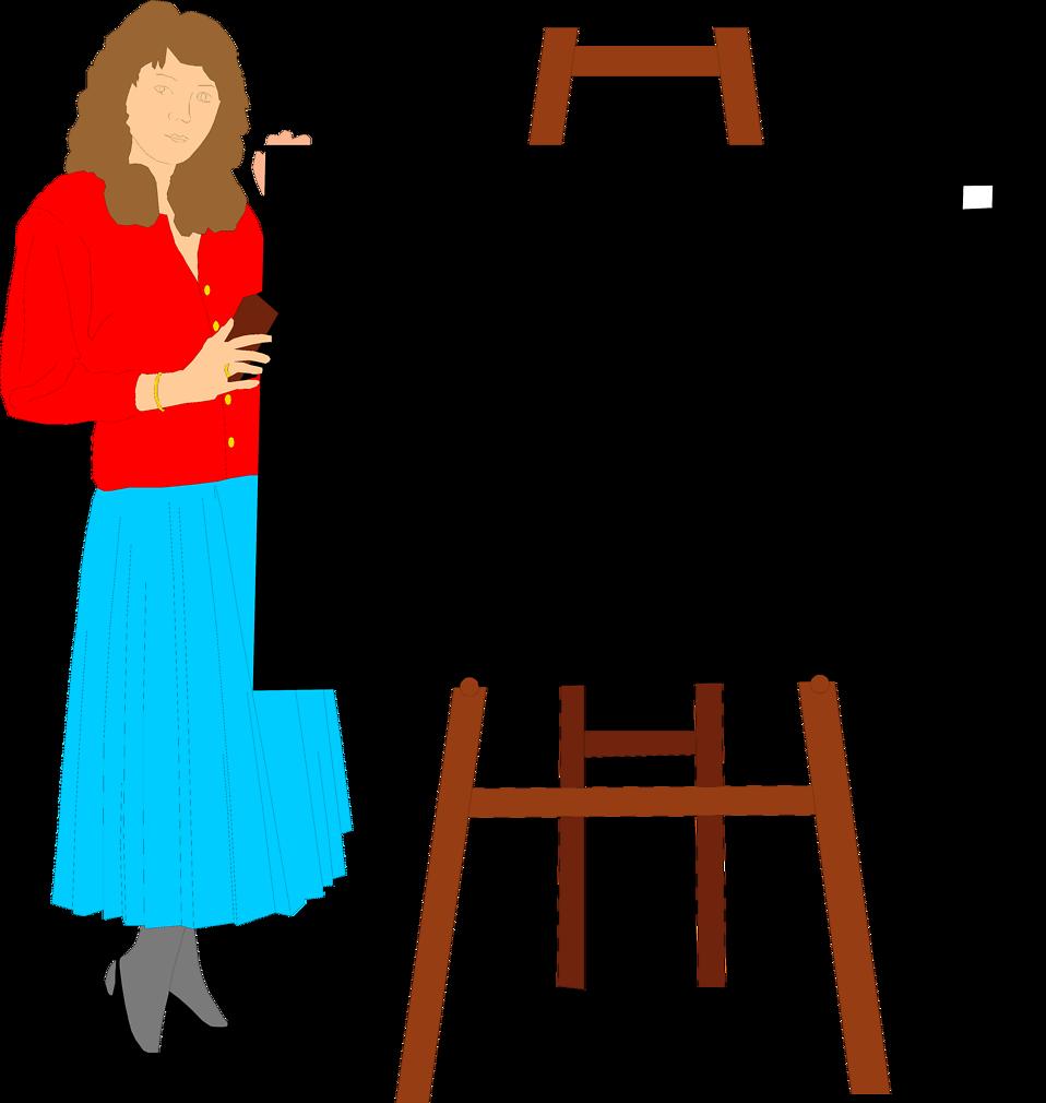 Clipart teacher easel. Free stock photo illustration
