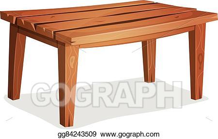 Vector art cartoon eps. Clipart table wood table