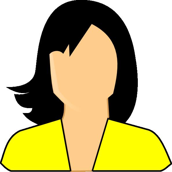 Neck clipart girl short hair. Yellow woman clip art