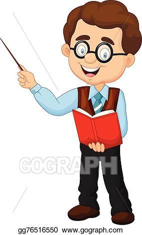 Clipart teacher cartoon. Vector illustration male eps