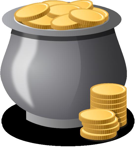 Coins clipart peso coin. Gold in a pot