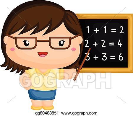 Eps vector stock illustration. Clipart teacher cute
