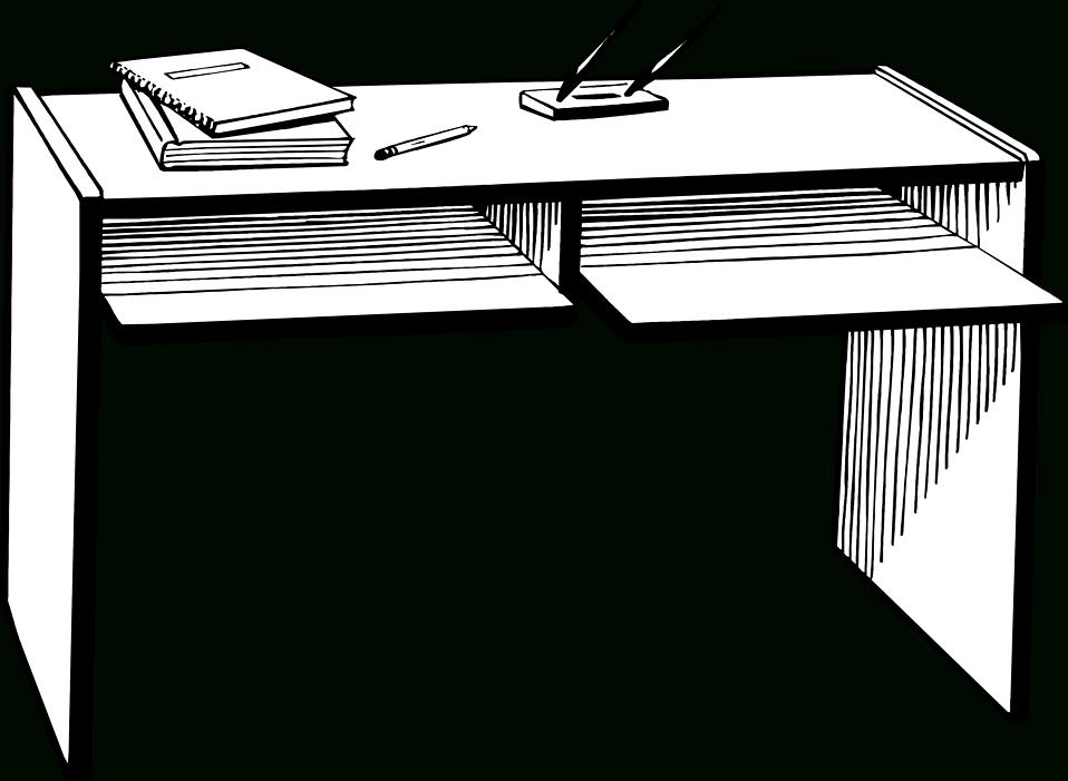 Desk clipart empty desk. Teacher black and white