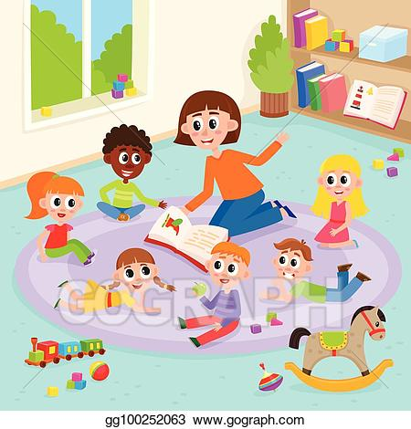 Playing Children And Kindergarten Teacher. Royalty Free Cliparts, Vectors,  And Stock Illustration. Image 93007370.