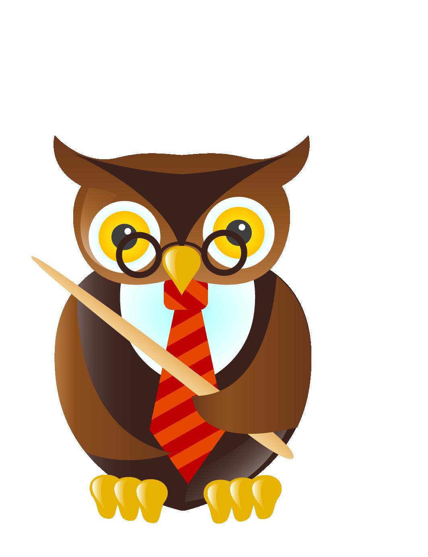 Student teacher cartoon clip. Scientist clipart owl