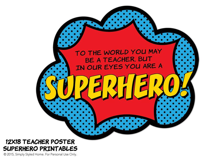 Clipart teacher superhero. Instant poster