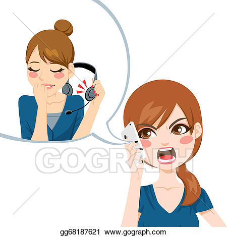 Vector stock to customer. Yelling clipart bad communication